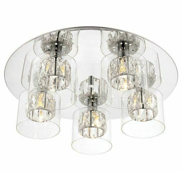 Deluxe Verina 5 Light chrome plate and clear glass dimmable Flush